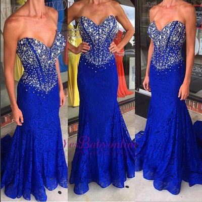 Sweep-Train Sweetheart Royal-Blue Crystal Mermaid Lace Prom Dresses_1