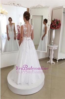 Glamorous Bowknot Appliques Beadings Lace V-Neck Wedding Dresses_1