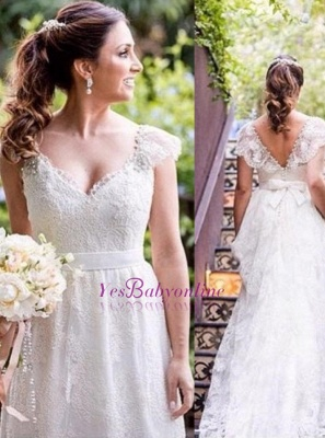 A-line Bow Lace Cap-sleeves Simple V-neck White Wedding Dress_1