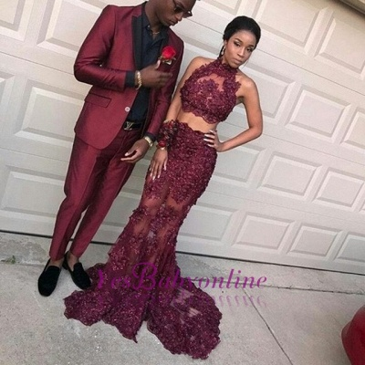 Dramatic Two Pieces Halter Prom Dresses | Sleeveless Burgundy Lace Evening Dresses_1