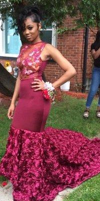 Amazing Burgundy Mermaid Prom Dresses with Rose Flowers Skrit_1