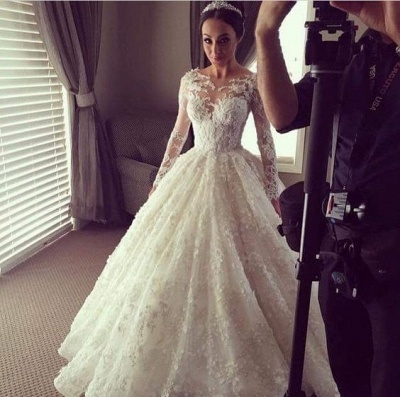 Charming Princess Ball Gown Wedding Dresses | 3D-Floral Appliques Long Sleeves Bridal Gowns_5