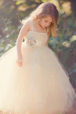 Lovely Light Champagne Sweet Girls Pageant Dress | Puffy Skirt Tulle Flower Girl Dress_1