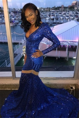 Royal Blue Mermaid Prom Dresses | V-neck Sequins Long Sleeves Evening Gowns_3