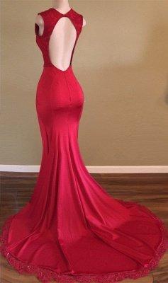 V-neck Red Newest Front-Split Backless Beads Sleeveless Prom Dress_3