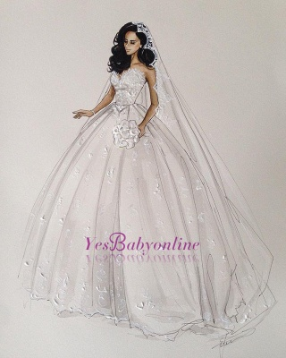 gown White ball dresses wedding with lace_1