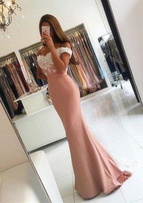 Off-the-shoulder Mermaid Lace-Appliques Modern Long Prom Dress BA4464_2