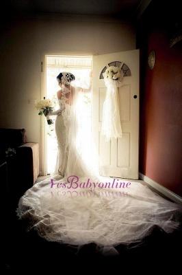 Glamorous Zipper Pearls Sweetheart Lace Mermaid  Wedding Dress_1