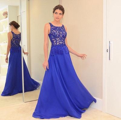 Beading Scoop Blue Chiffon A-line Chic Evening Dress_3