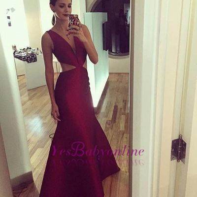 Sheath-Column Floor-length Elegant Sexy Deep-v-neck Sleeveless Prom Dress_1