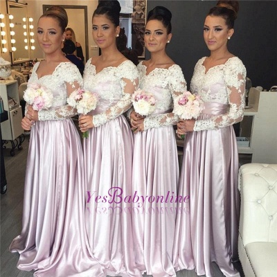 Popular Elegant White-Lace Long-Sleeve V-neck Pink Bridesmaid Dress_1