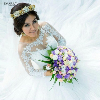 Tulle Glamorous Long Sleeves Princess Lace Ball-Gown Wedding Dress_4
