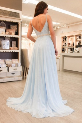 Sleeveless Spaghetti-Strap Beads Elegant A-line Prom Dress_4
