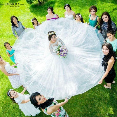 Tulle Glamorous Long Sleeves Princess Lace Ball-Gown Wedding Dress_3