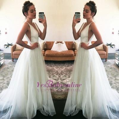 Stunning A-line Sleeveless Straps White V-neck Sweep Train Wedding Dress_1