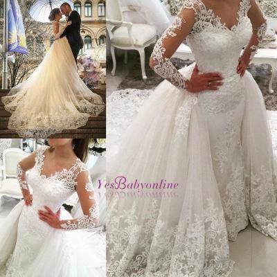 Glamorous Detachable-Skirt Tulle Appliques V-Neck Long Sleevess Wedding Dress_1