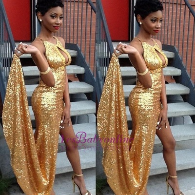 Halter Sexy Newest Gold Sequined Side-Slit Evening Gown_1