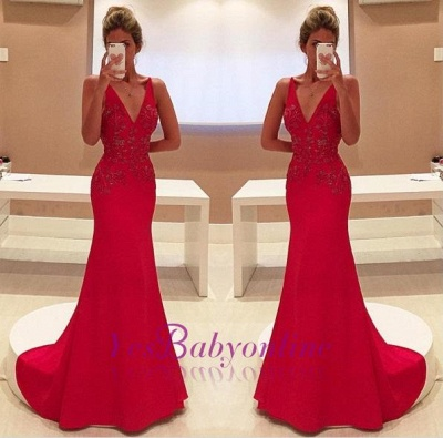 Two-Straps V-Neckline Sleeveless Appliques Long Red Prom Dress_1