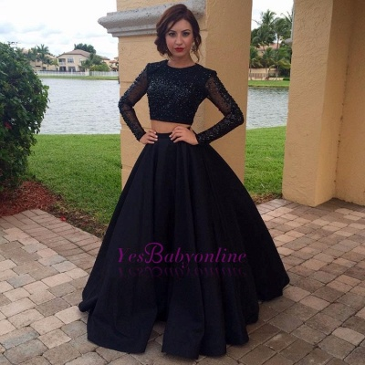 Appliques Black A-Line Long-Sleeves Two-Pieces Crystal Prom Dress_1