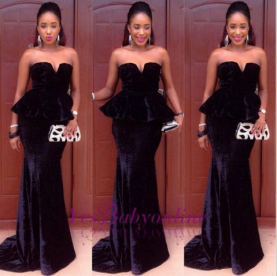 Sexy MermaidFloor-Length Simple  Velvet Sweetheart Black Prom Dress_1