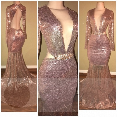 Mermaid Sequined Long-Sleeve V-neck Gorgeous Backless Prom Dress_3