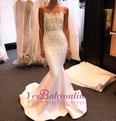 Shiny White Prom Dresses Long Sleeveless Beading Mermaid Formal Gowns_1