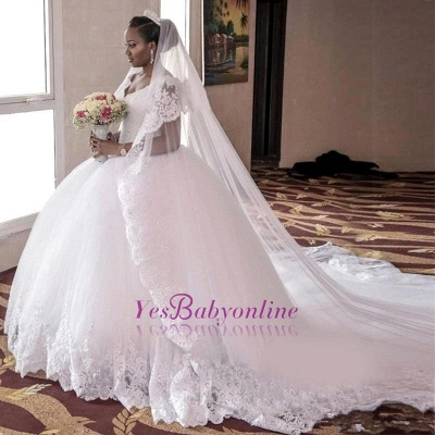 Glamorous Tulle Lace-Appliques Long Cap-Sleeve Ball-Gown Wedding Dress_1
