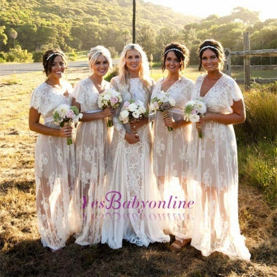 Elegant Lace Capped-Sleeves V-Neck Long Sheer Bridesmaid Dresses_1