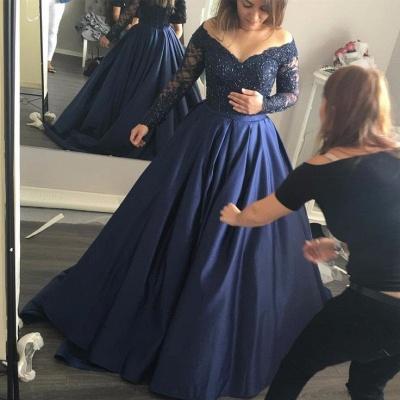 Long-Sleeves Navy-Blue Elegant Lace Off-the-Shoulder Prom Dress_3