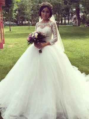 Tulle Glamorous Long Sleeves Princess Lace Ball-Gown Wedding Dress_2