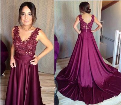 Sleeveless Lace Zipper Appliques Gorgeous Prom Dress_2