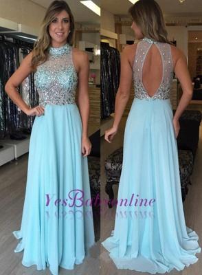 Halter Crystal Long  Natural High-Neck Prom Dresses_1