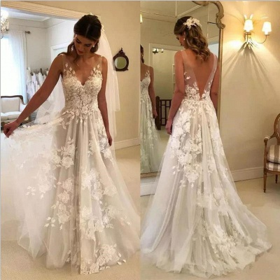 Stunning Rose A-line Wedding Dresses | V-Neck Appliques Bridal Gowns_4