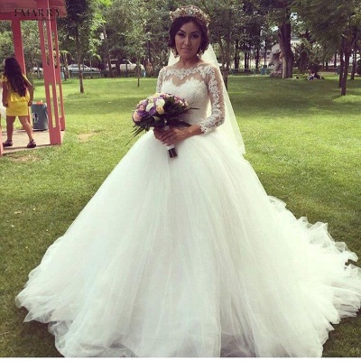 Tulle Glamorous Long Sleeves Princess Lace Ball-Gown Wedding Dress_5