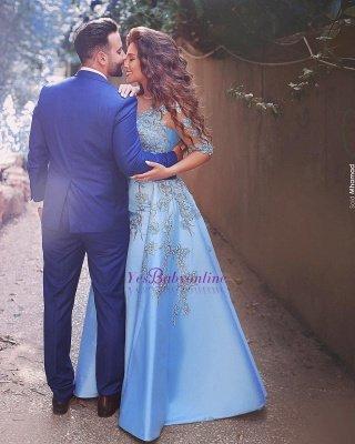V-Neck A-Line Half-Sleeves Appliques Elegant Prom Dresses_1