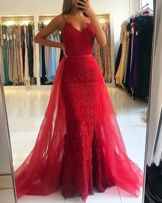 Red Sheath Spaghetti Straps Prom Dresses 2019 | Sexy Lace OverSkirt Evening Dress_1