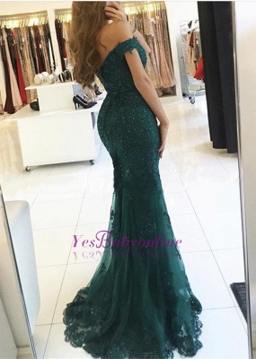 Off-the-Shoulder Lace Charming Mermaid Appliques Dark-Green Evening Dress_1