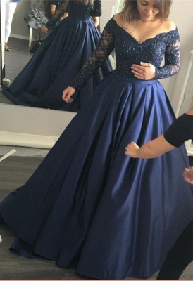 Long-Sleeves Navy-Blue Elegant Lace Off-the-Shoulder Prom Dress_2