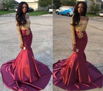 Burgundy Mermaid Prom Dresses Off the Shoulder Gold Appliques Long Sleeves Evening Gowns_3