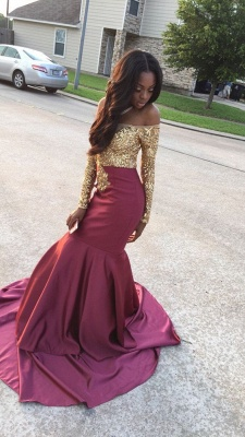 Burgundy Mermaid Prom Dresses Off the Shoulder Gold Appliques Long Sleeves Evening Gowns_1