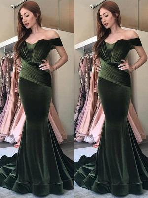 Elegant Olive Green Velvet Prom Dresses | Off-the-Shoulder Ruched Evening Gowns_1