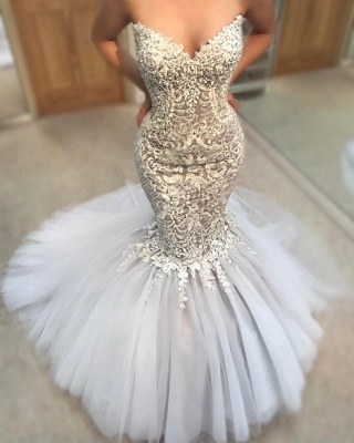 Exquisite Appliques Mermaid Wedding Dresses | Sweetheart Neck Tulle Skirt Bridal Gowns_1
