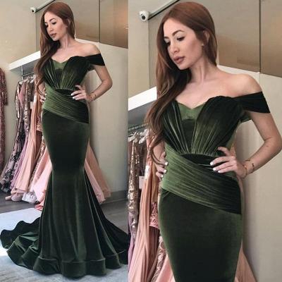 Elegant Olive Green Velvet Prom Dresses | Off-the-Shoulder Ruched Evening Gowns_3