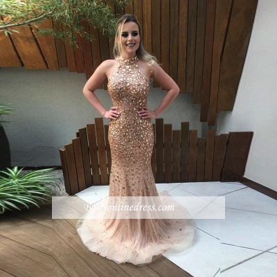 2019 Gold Crystals Prom Dresses Halter Neck Backless Luxury Evening Gowns_2
