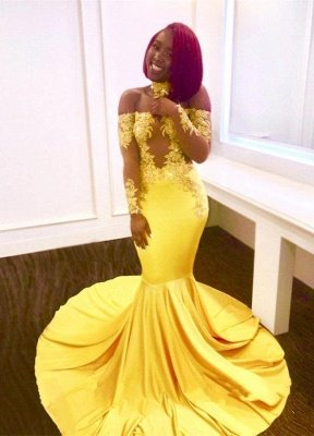 Bright Yellow Mermaid Prom Dresses | Sexy Sheer Appliques Evening Dresses_2