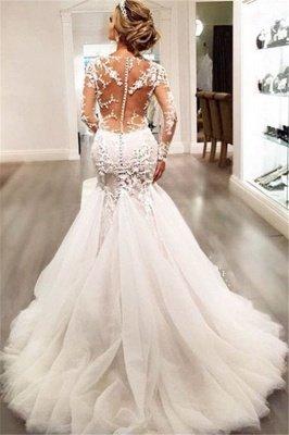 Long-Sleeves V-Neck Mermaid Beaded Sexy Sheer Lace Wedding Dresses_3