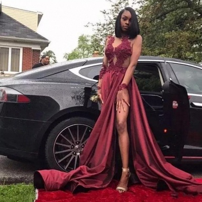 Sexy Sheer Burgundy Prom Dresses | Long Sleeves High Slit Party Gowns_4