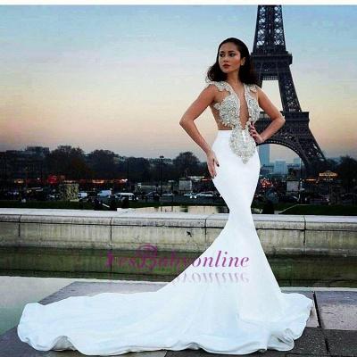 Prom Dresses Sheer white long Mermaid satin_1