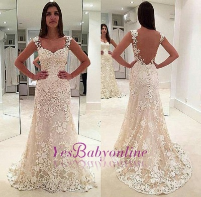 Glamorous Lace Straps Backless Sleeveless Mermaid  Wedding Dresses_1