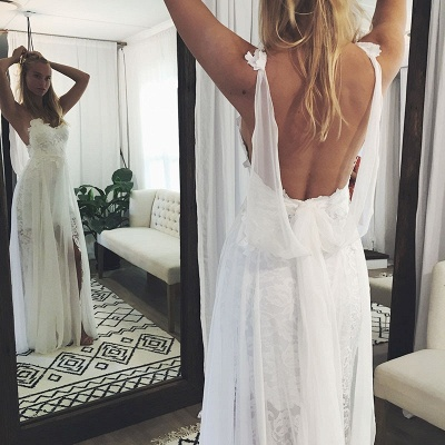 Chic Backless Lace Wedding Dresses | Simple Side Slit Spaghetti -Strap Bridal Gowns_3